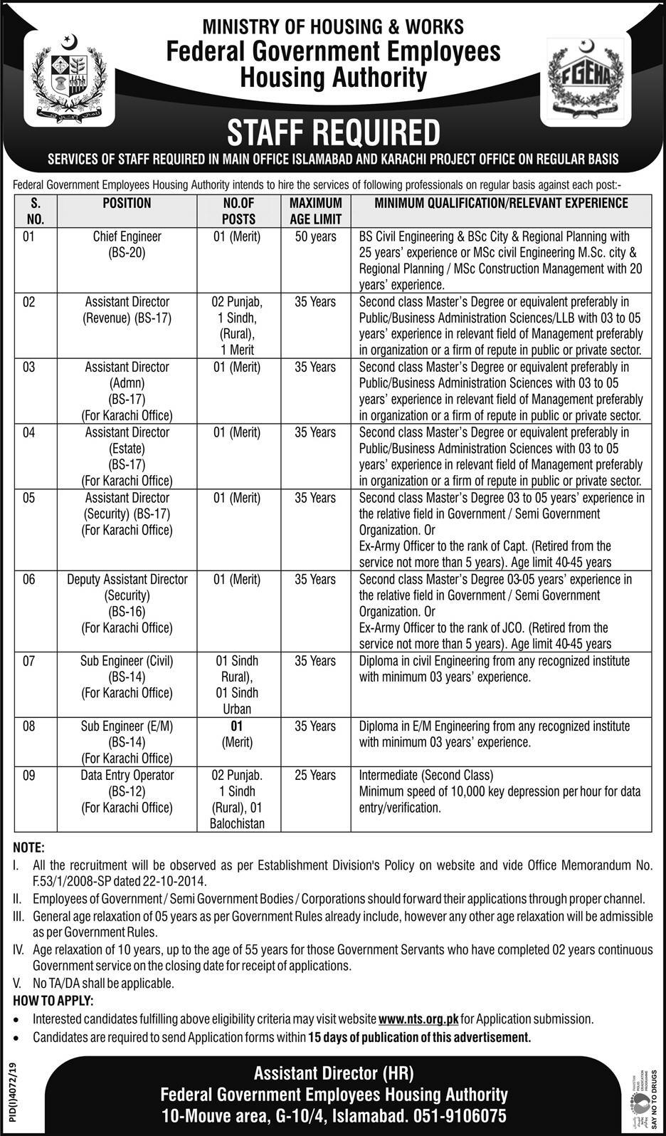 Vacancies in Federal Govt Employees Housing Authorities