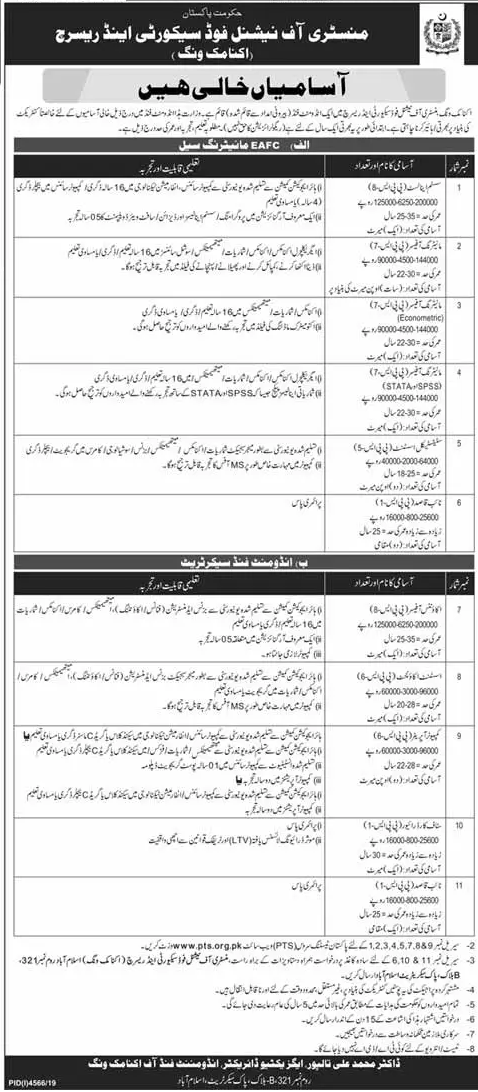 Career Opportunities in Ministry of National Food Security