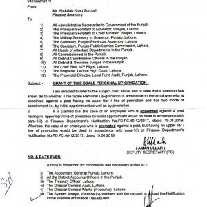 Notification of Clarification Time Scale Personal Upgradation