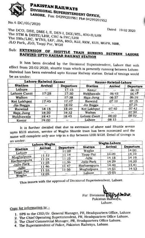 Extension Shuttle Train Service between Lahore to Kasur