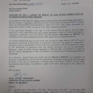 Fixation of Pay ALM on Grant of BPS-07 after Completion 2 Years Satisfactory Service