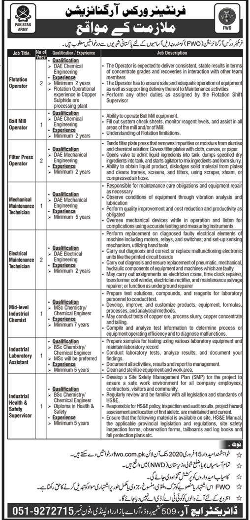 Frontier Works Organization FWO Jobs 2020