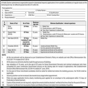 Job Opportunities in Public Sector Autonomous Organization BPS-01 to BPS-05