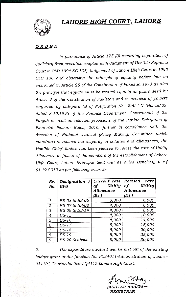 Notification of Revised Rates Utility Allowance LHC 2020 Lahore High Court