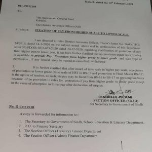Pay Fixation Higher Grade to Lower Grade Sindh
