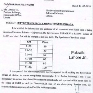 Notification of Lahore Gujranwala Shuttle Train Service