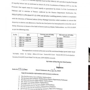 Revision Utility Allowance KPK District Judiciary to Remove Disparity in Salary