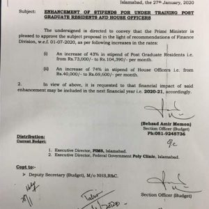 Notification of Enhancement Stipend for Under Training Post Graduate Residents and House Officers