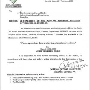 CM Office Sindh Recommendations to Upgrade the Post of Assistant Accounts Officer