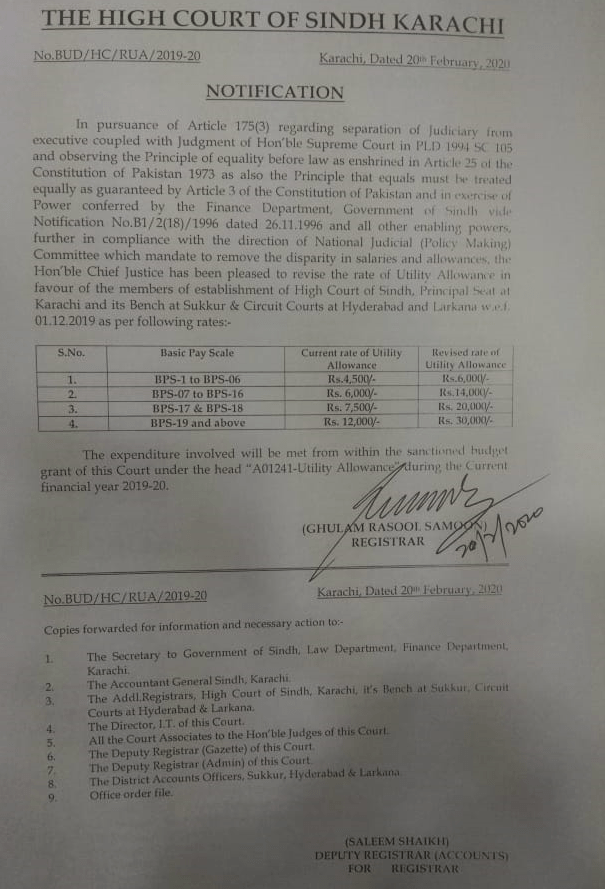 Utility Allowance Sindh Courts