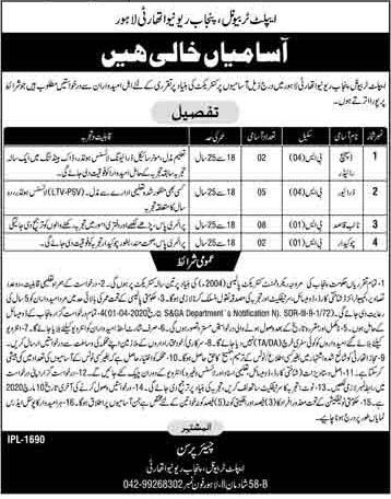 Vacancies in Elite Tribunal Punjab Revenue Authority