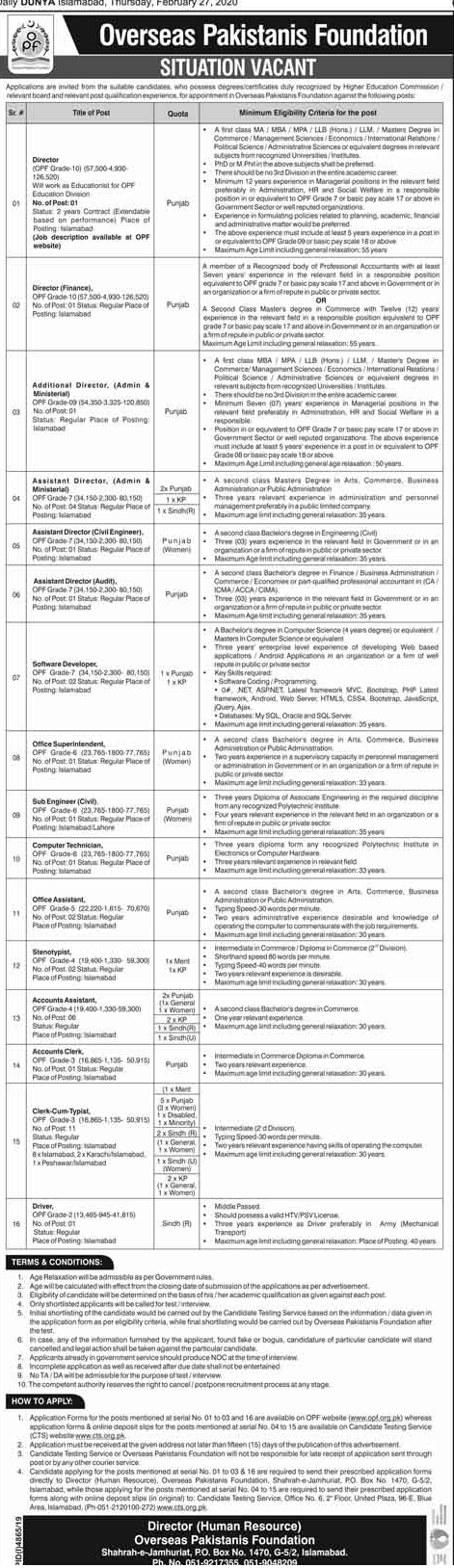 Vacancies in Overseas Pakistanis Foundation