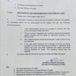 Violations of the Punjab Marriage Functions Act 2016