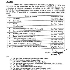 Notification of Wage Rates 2019 Daily Labour Staff in Multan