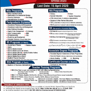 Announcement of AIOU Admission Open Spring 2020