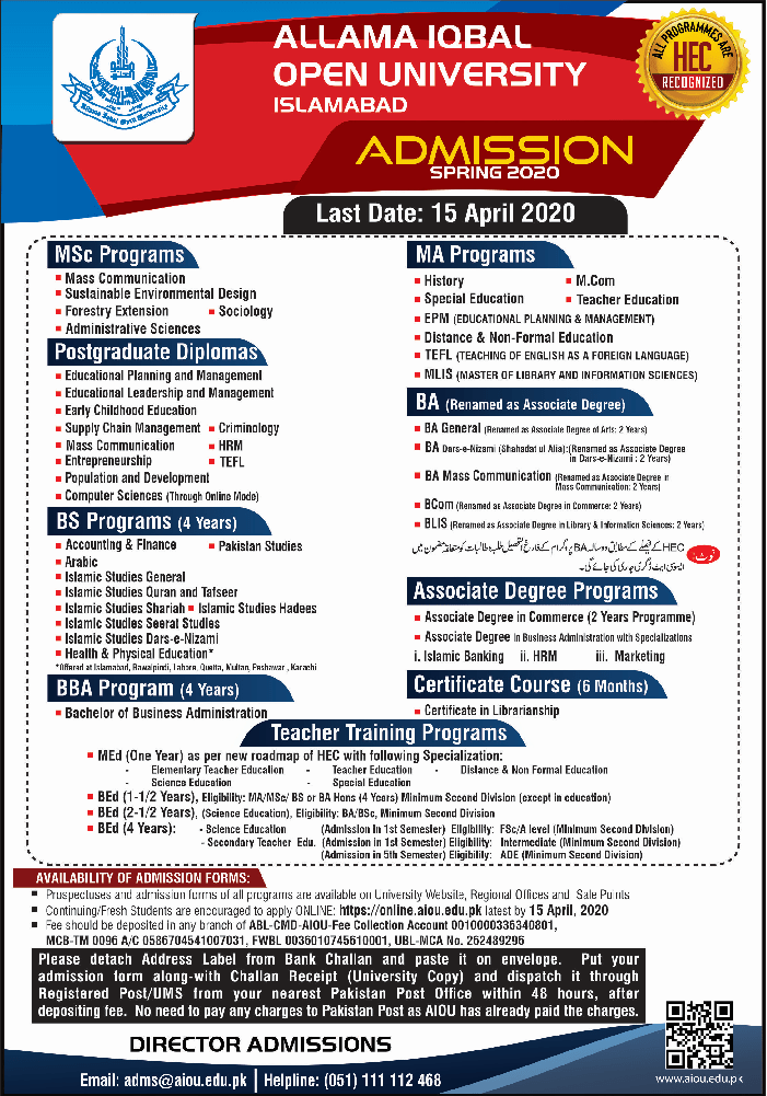 AIOU Admission Open Spring 2020