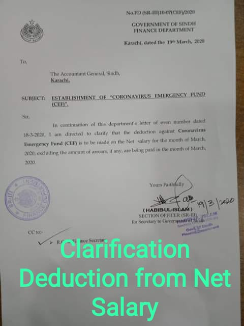 Clarification of Deduction of Salary Net