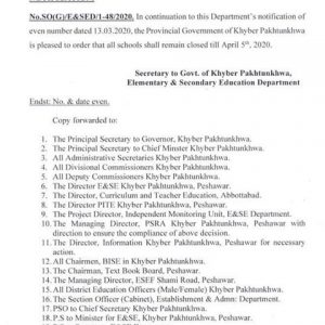 Notification of Extension Holidays KPK Schools
