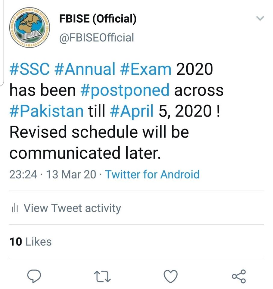 FBISE SSC Annual Exam 2020 Postponed Across Pakistan