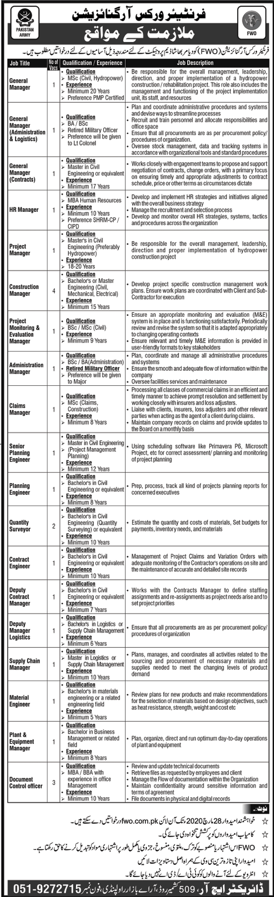 Jobs in FWO 2020 for Diamer Bhasha Dam Project