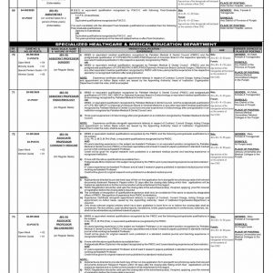 Jobs in Health Department Punjab through PPSC Ad No. 09/ 2020