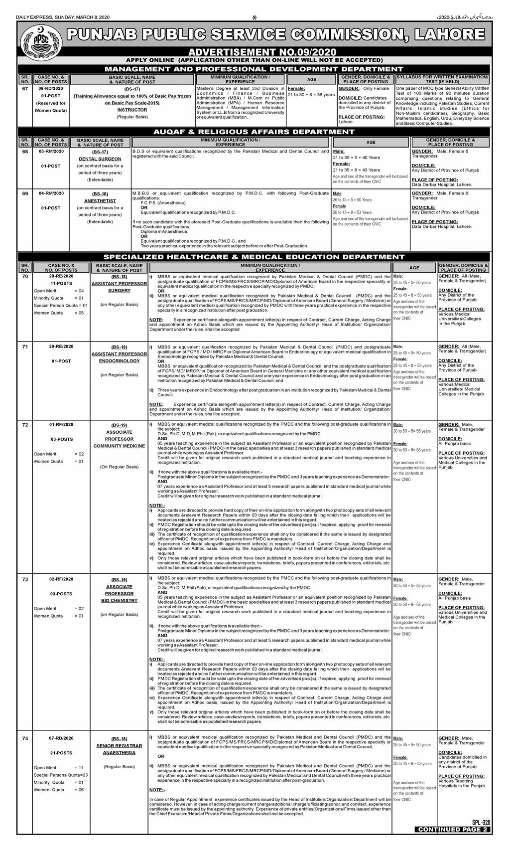 Jobs in Health Department Punjab through PPSC