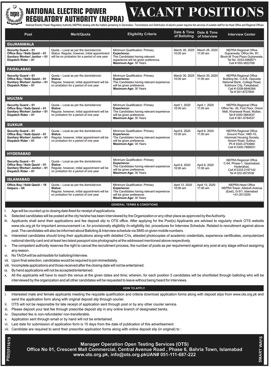 NEPRA Announces Vacancies