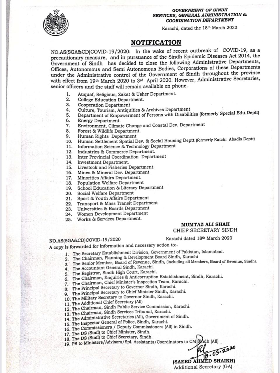 Notification of Closing of Govt Departments and Offices in Sindh