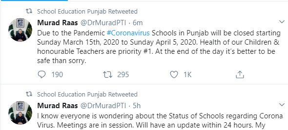 Notification of Holidays in Punjab Educational Institutions 2020