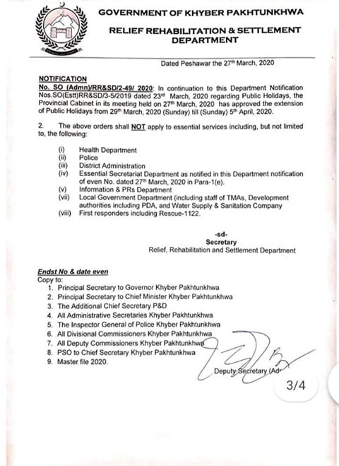Notification of Public Holidays upto 5th April throughout KPK