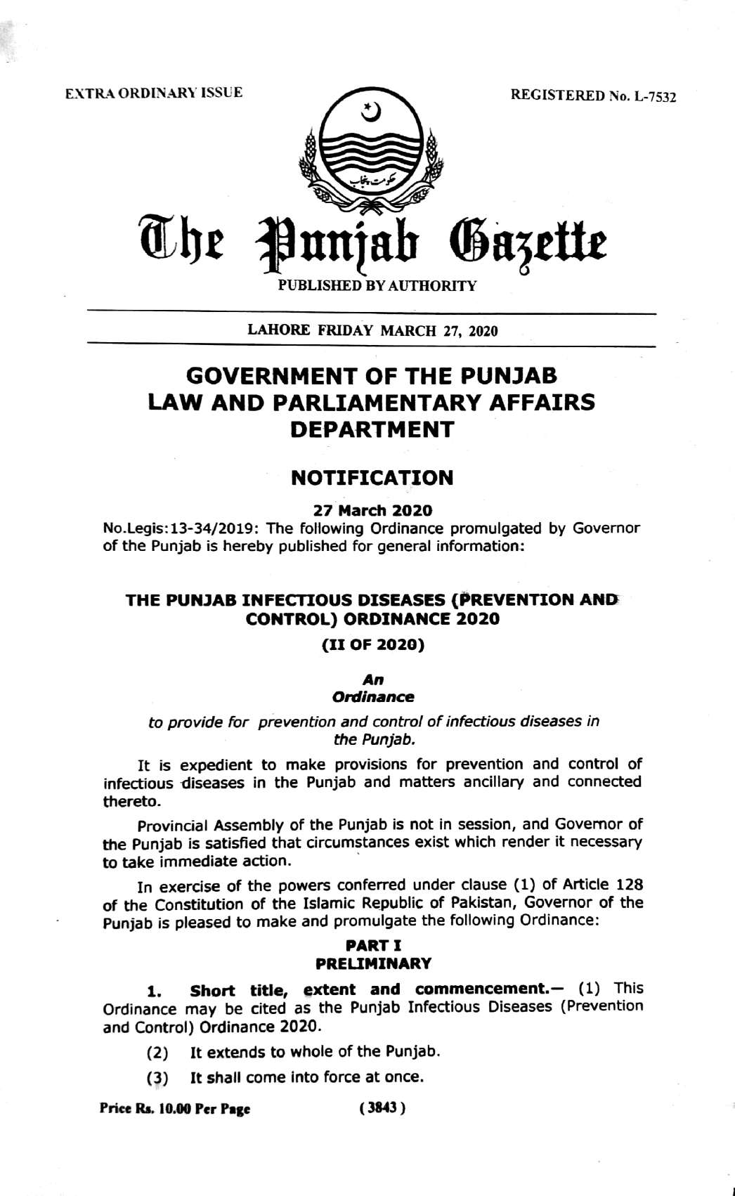 Notification of Punjab Infectious Disease Prevention and Control Ordinance 2020