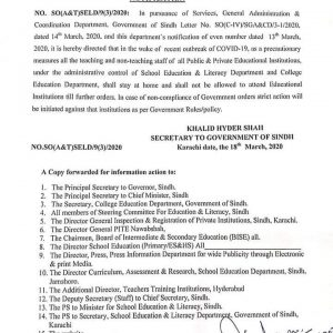Notification of Stay at Home All Teaching and Non-Teaching Staff Sindh Public  Private Educational Institutions