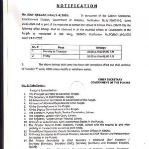 Notification of Office Timings as Part of Measures the Spread of Corona Virus