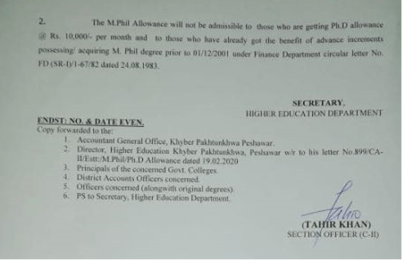 Ph. D Allowance to Lecturers