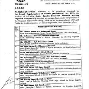Notification of Regularization Senior Special Education Teachers BPS-17