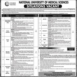 Situation Vacant NUMS (National University of Medical Sciences)