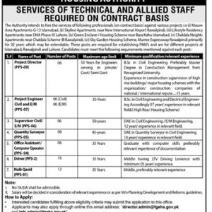 Services of Technical and Allied Staff Required in Ministry of Housing & Works FGEHA