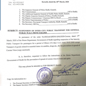 Suspension of Inter City Public Transport for General Public Sindh
