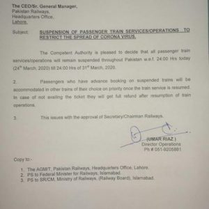 Notification of Suspension of Trains to Restrict the Spread of Corona Virus