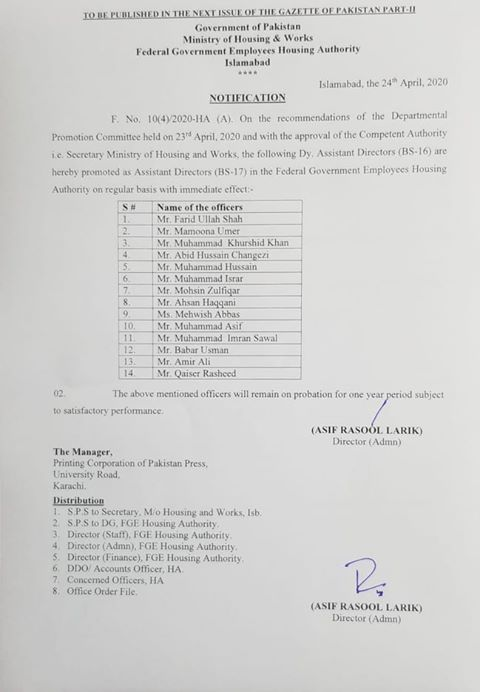 Notification of Promotion Deputy Assistant Directors FG Employees Housing Authority