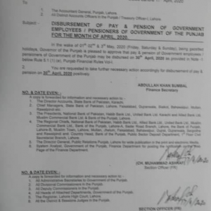 Disbursement of Pay and Pension in Advance April 2020 Punjab Govt