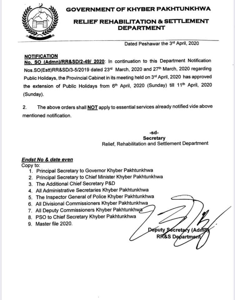 Extension Public Holidays for KPK Employees