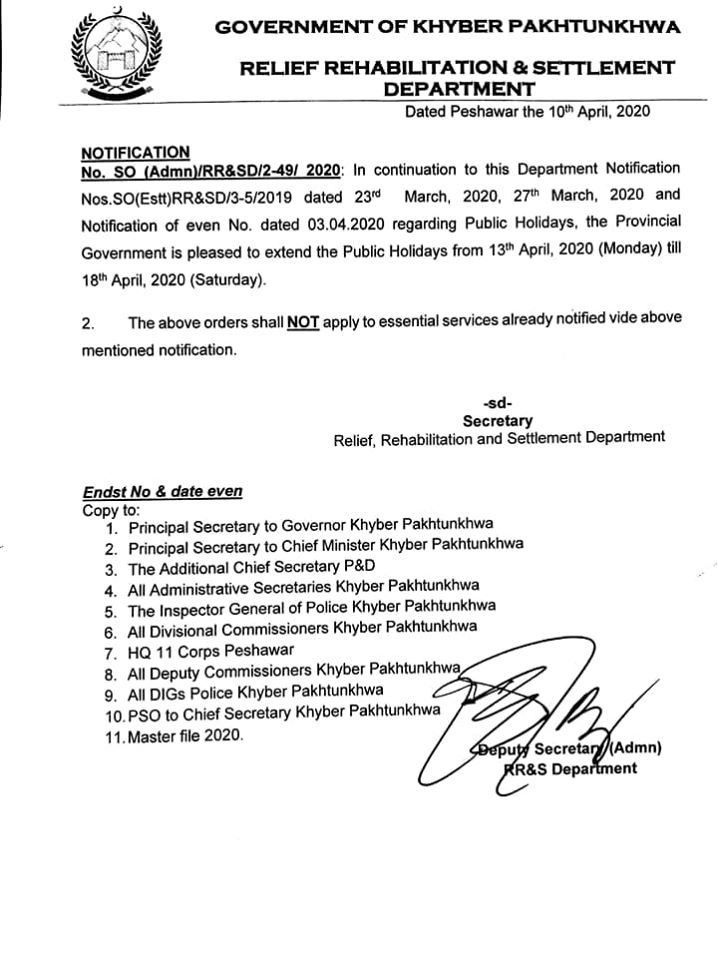 Further Extension Public Holidays KPK 2020