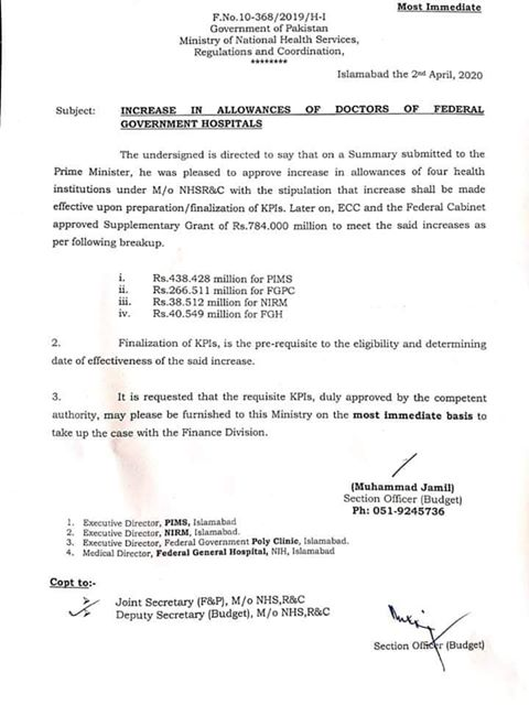 Increase in Allowances of Doctors of Federal Government Hospitals