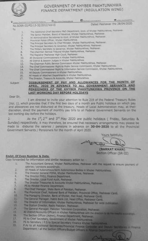 Notification Disbursement Pay in Advance April 2020 KPK Employees