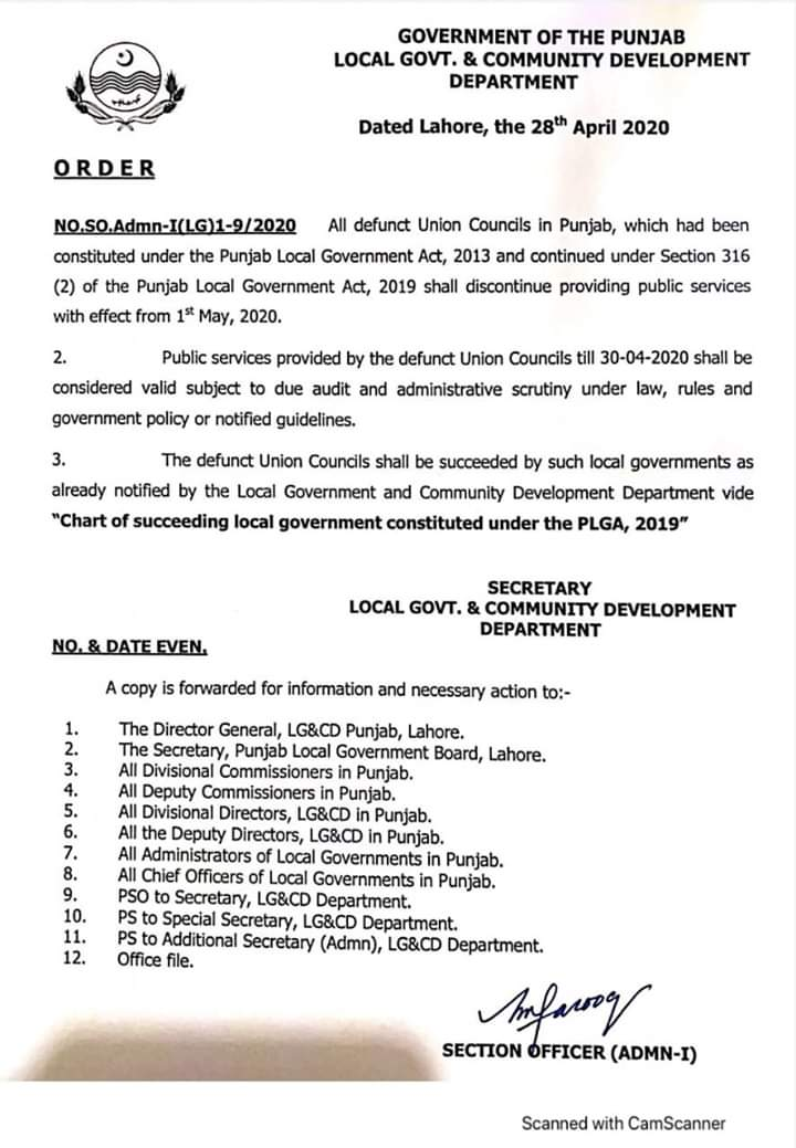 Notification of Abolishing Discontinue Union Councils in Punjab wef 1st May 2020