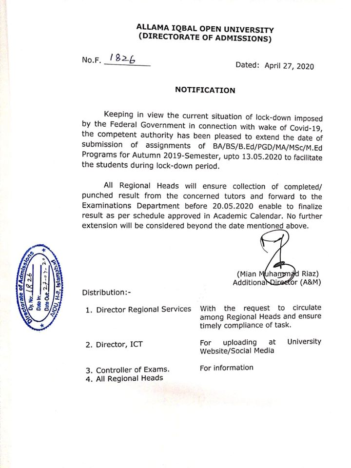 Notification of Extension Date of Submission of Assignments AIOU