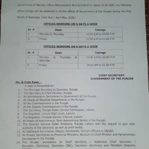 Notification of Office Timings Punjab Govt Holy Ramzan 2020