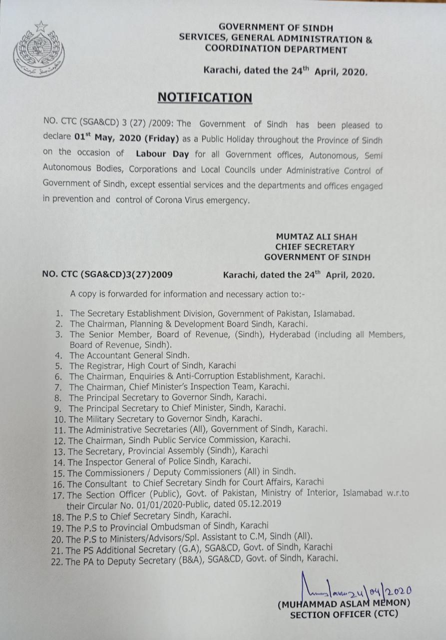 Public Holiday on 1st May 2020 Sindh