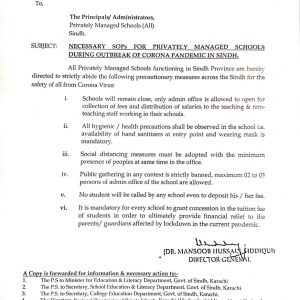 Necessary SOPs for Privately Managed Schools Regarding Fee Collection Sindh
